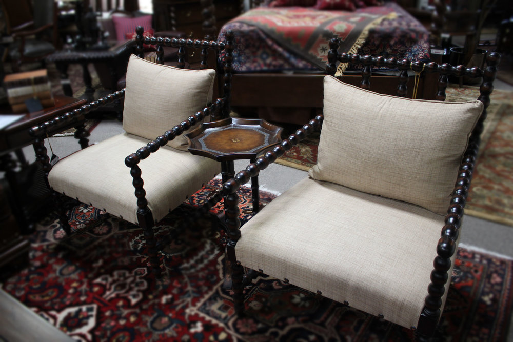Pair of Spindle Chairs with Cream Cushions