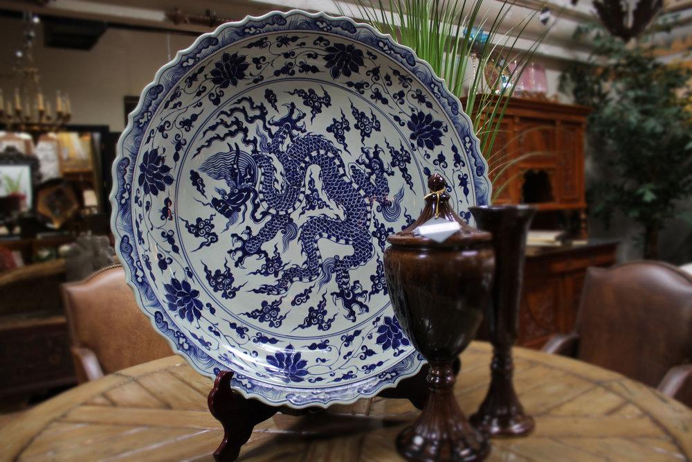 Blue & White Dragon Plate