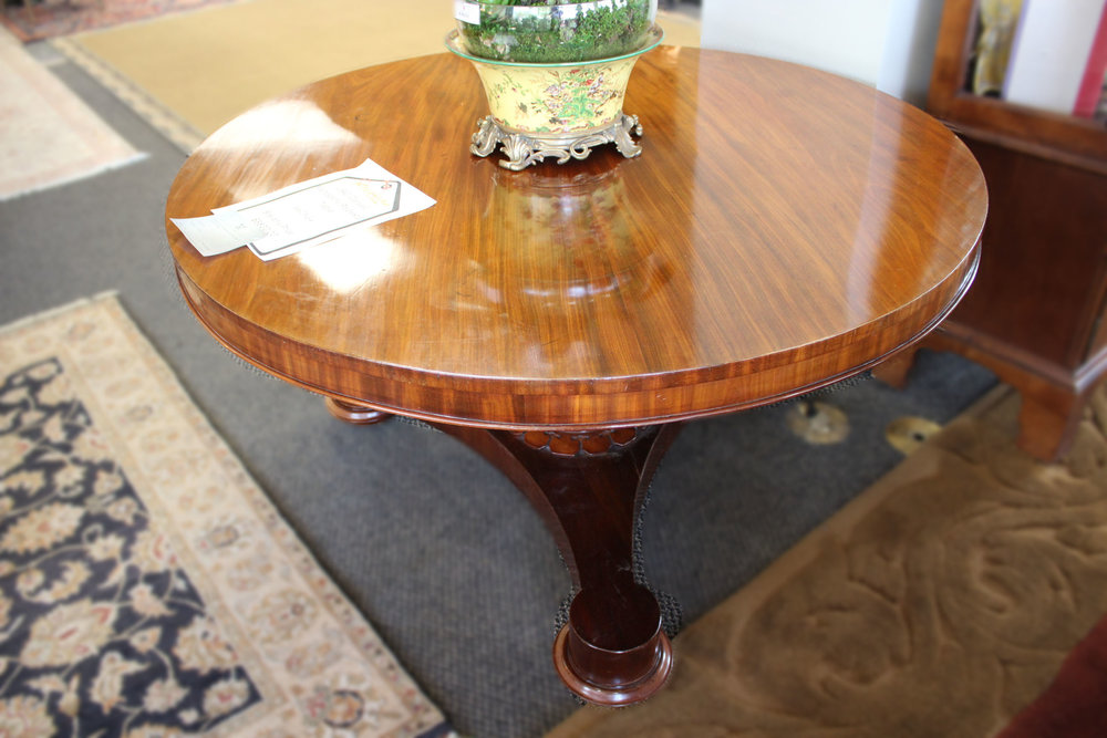 1840's Carved Mahogany Pedestal Table