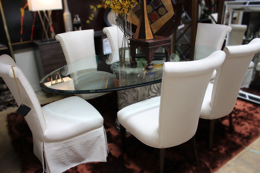 Oval Glass Top Table with 6 Ecru Chairs