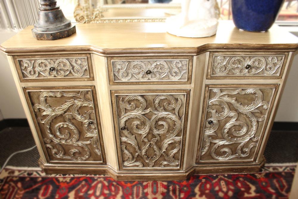 Silver & Cream 3 Drawer 3 Door Cabinet