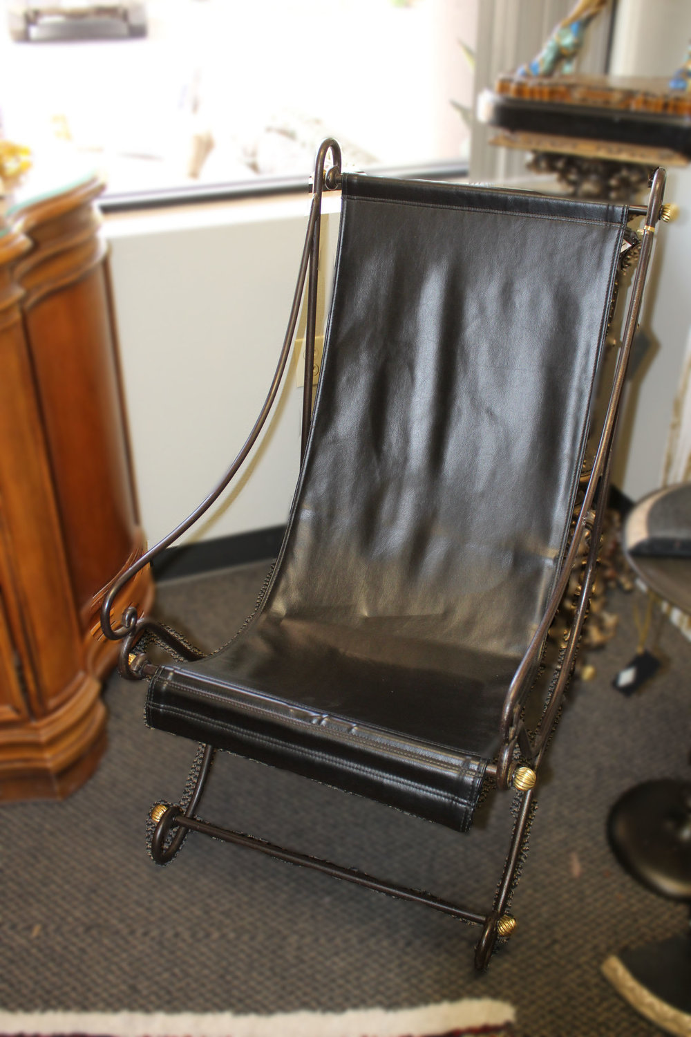 Metal Leather Sling Chair