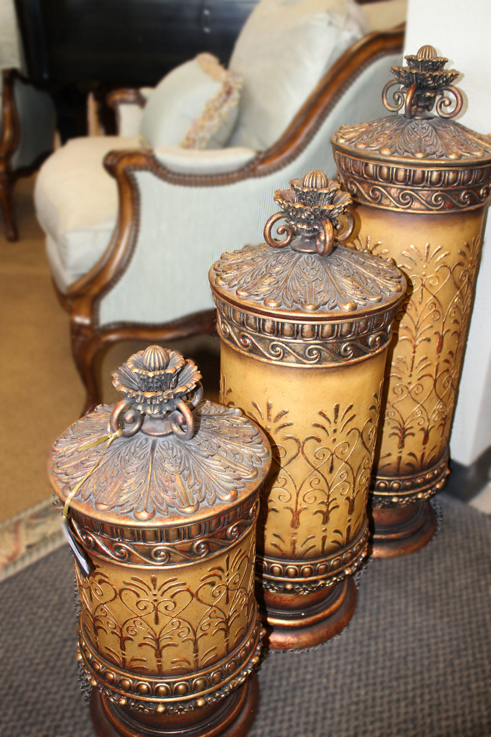 Set of 3 XL Gold Ornate Urns with Lids