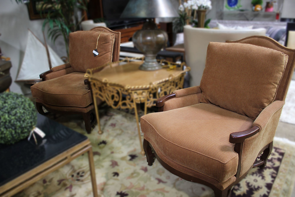 Bernhardt Pair of Gold Wood Arm Chairs