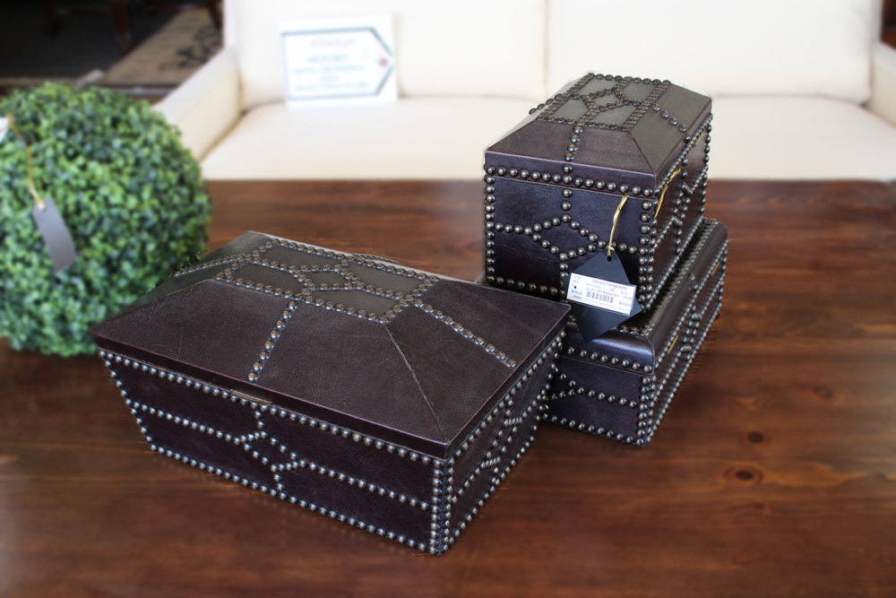 Maitland Smith 3 Piece Brown Leather Studded Boxes
