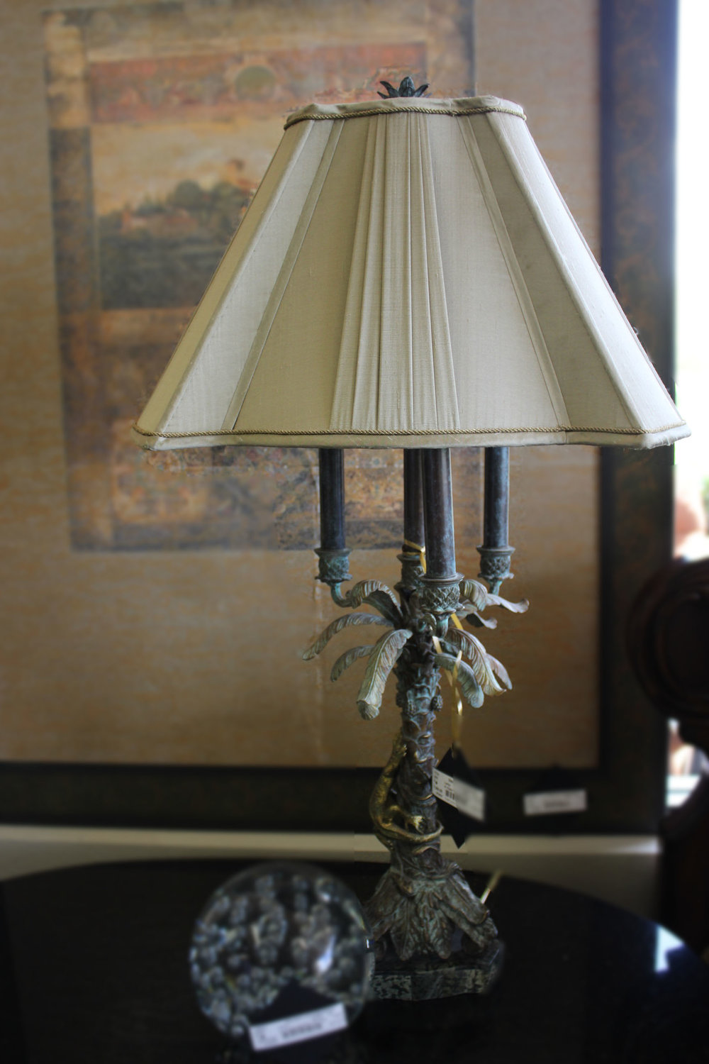 Maitland Smith Pair of Palm Tree Lamps with Gold Shade
