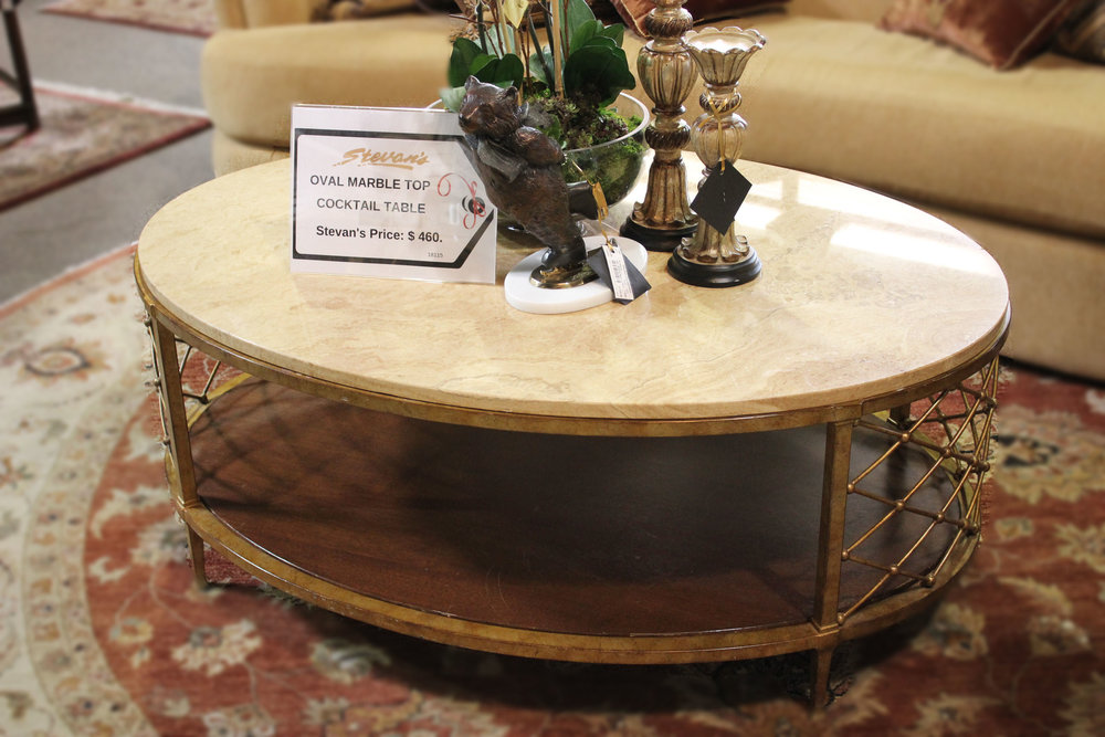 Oval Marble Top Cocktail Table