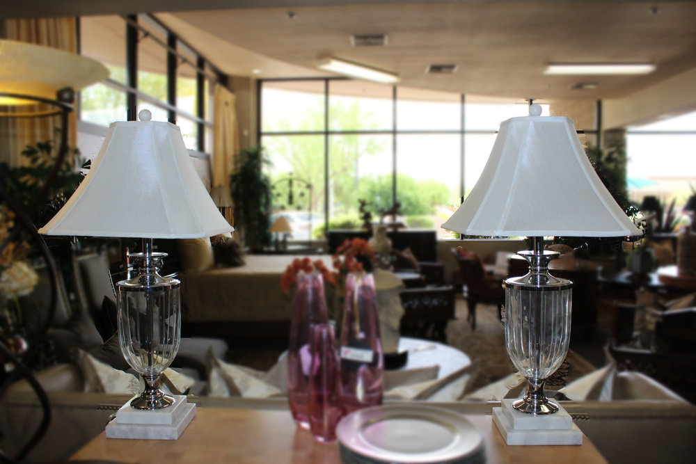 Pair of Marble Crystal Lamps