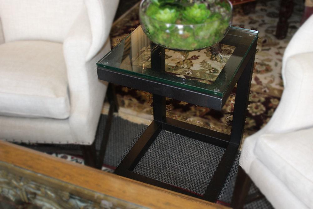 C Frame Glass Top Metal End Table