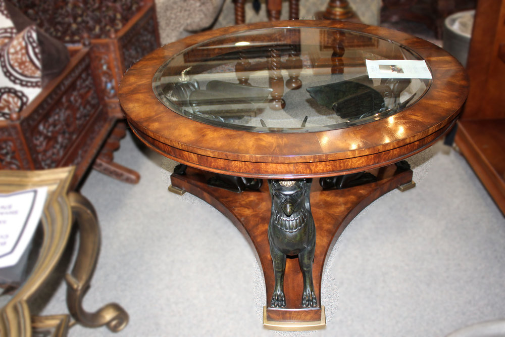 Theodore Alexander Round Gryphon Mahogany Cocktail Table