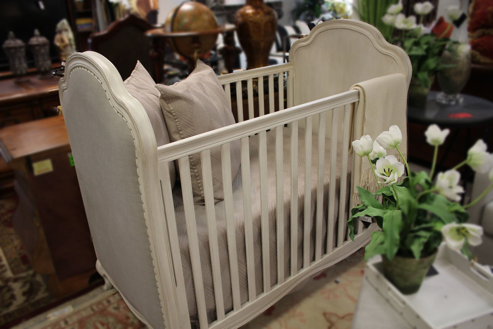 Restoration Hardware White Crib with Grey Linen Insert
