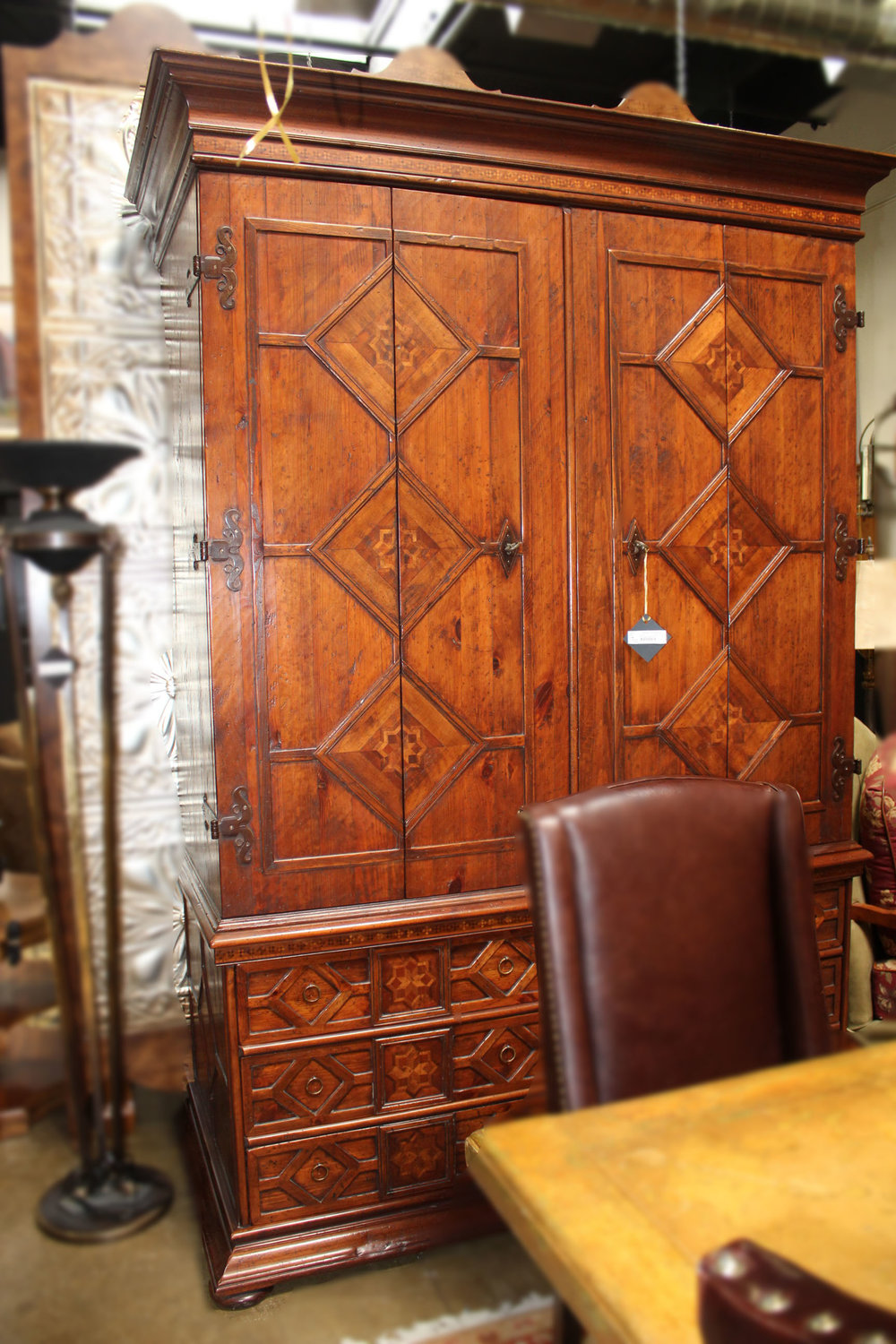 2 Piece Large Inlay Armoire
