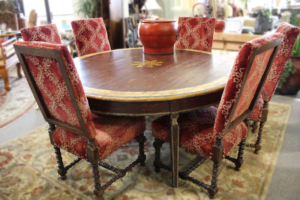 Hand Painted Spanish Colonial Round Dining Table with 6 Chairs