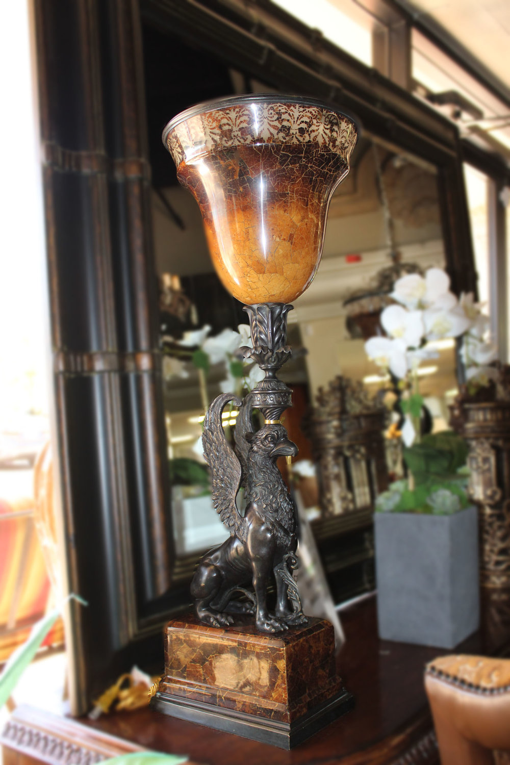 Pair of Bronze Griffin Lamps
