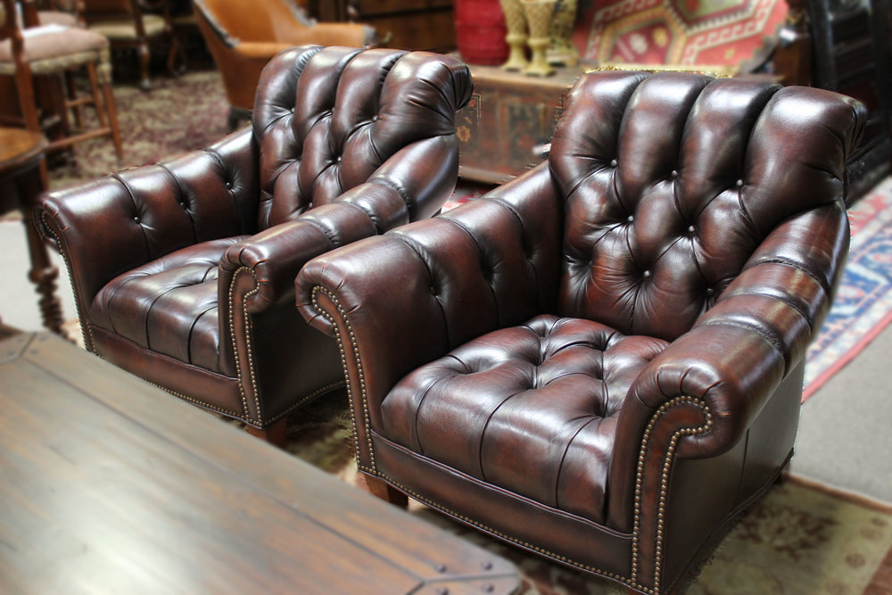 Pair of Tufted Rolled Arm Chairs