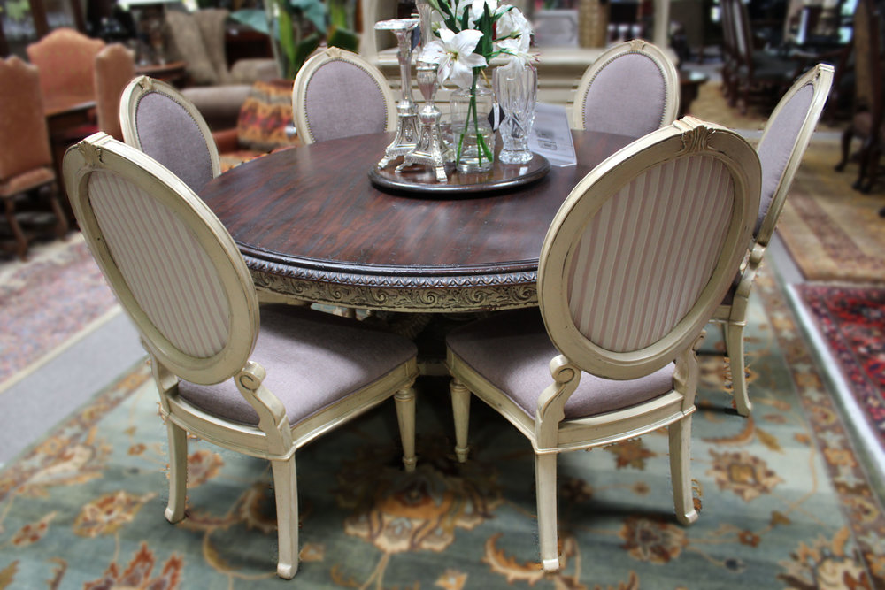 Round Dining Table with Lazy Susan & Set of 6 Oval Back Dining Chairs