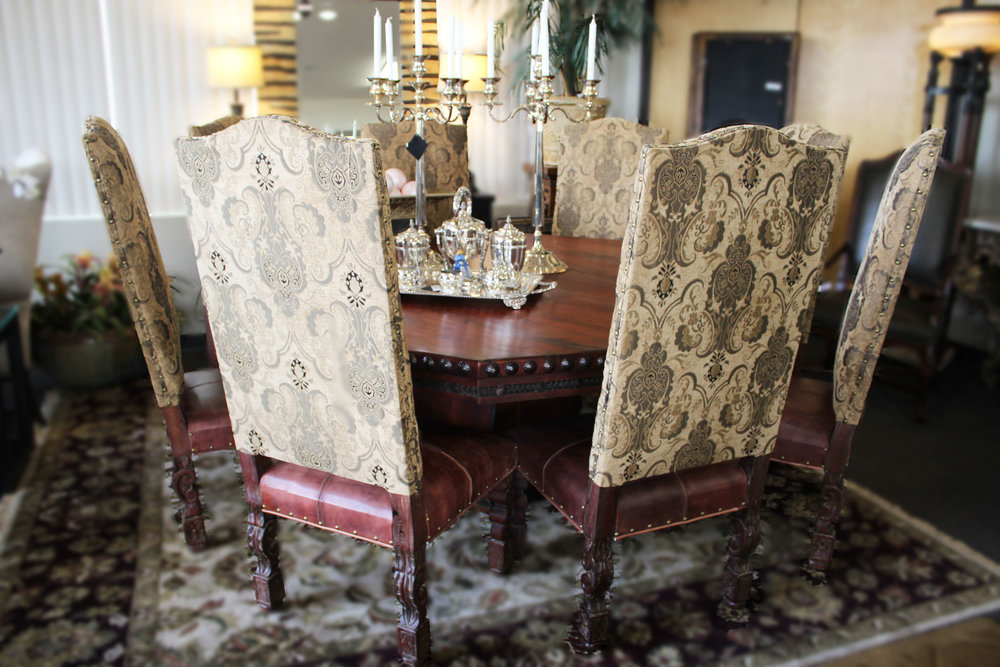 Rustic Mesquite Hexagon Dining Table & Set of 8 Leather Fabric Spanish Colonial Dining Chairs