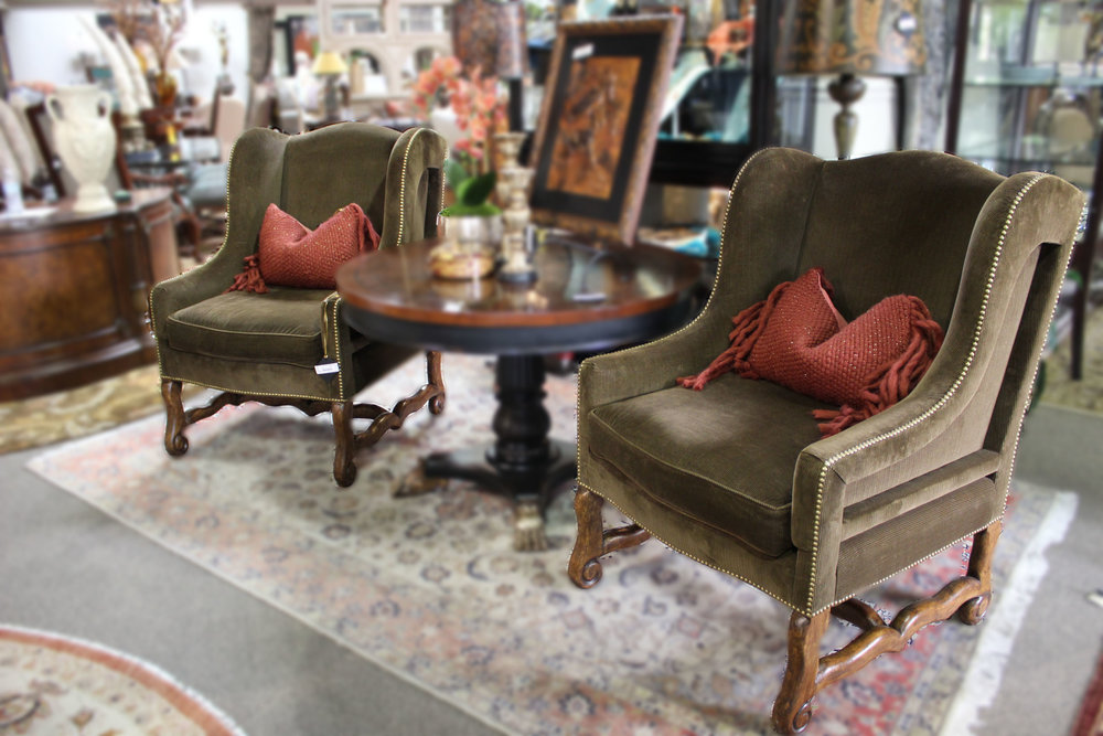 Pair of Brown Corduroy Arm Chairs