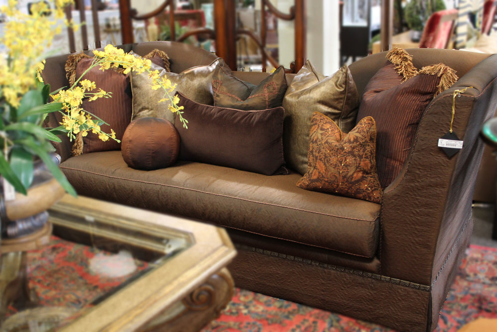 Marge Carson Brown Silk Pillow Back Sofa