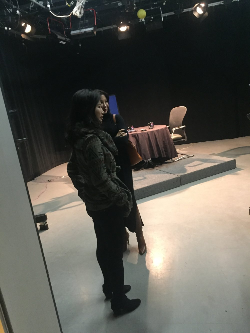 Preparing the set.