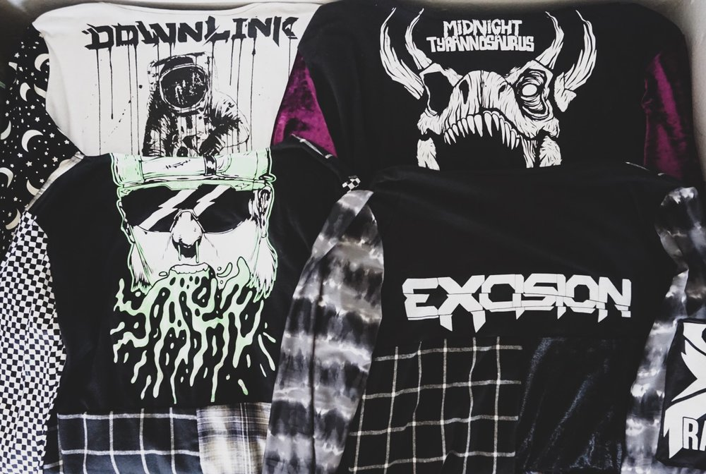 Top Left: Downlink Kimono  Top Right: Midnight Tyrannosaurus Kimono  Bottom Left: Yakz Kimono  Bottom Right: Excision Kimono