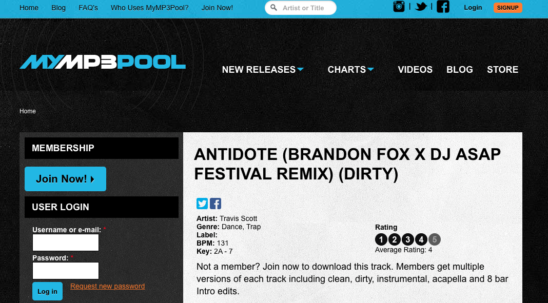 MYMP3POOL FEATURE: ANTIDOTE REMIX — Brandon Fox