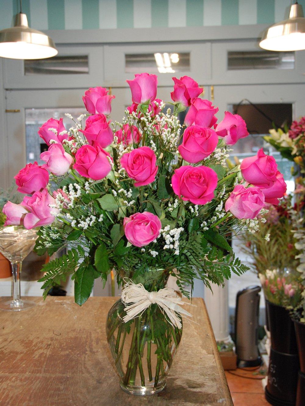 Two dozen roses vase arrangement -