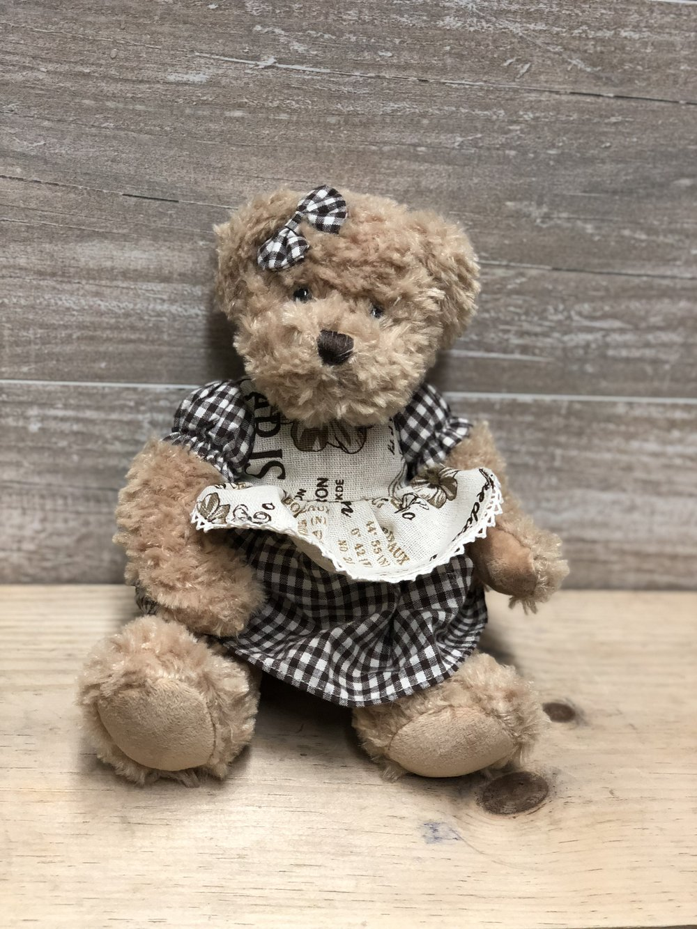 Gingham Dress Vintage Teddy Bear -