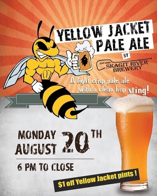 New Beer Alert!! We're bringing back an old favorite this Monday! Come on down and grab a pint. Dollar off all Yellow Jacket Pints from 6-Close!