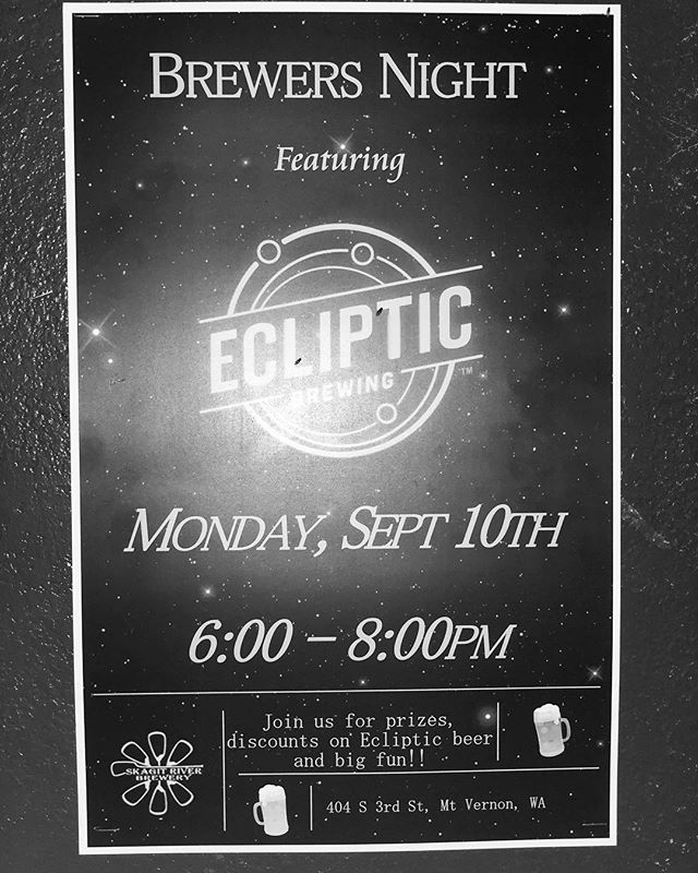 Join us TONIGHT for @eclipticbrewing brewers night! $1 off ecliptic beers from 6-8! Well also be raffling off plenty of free things!! #brewersnight #pnwbeer