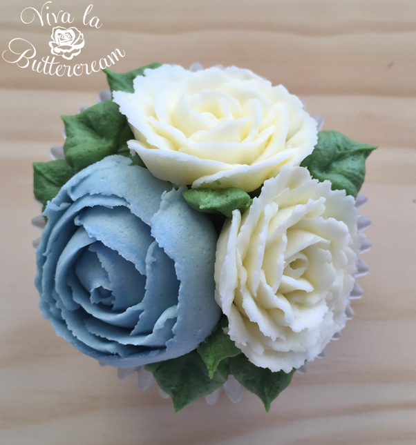 Baby Blue and White Roses
