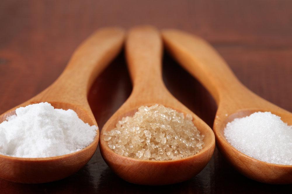 Powdered Sugar, Raw Sugar, and granulated Sugar.