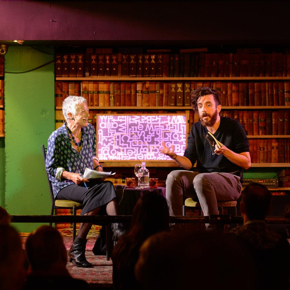 Kim Hill and Kaveh Akbar (Photo Fergus Haywood)