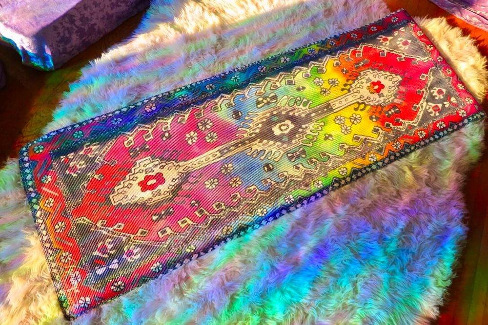 "Magic Carpet Rainbow Traditional Yoga Mat - 70"" 6mm Extra Thick"