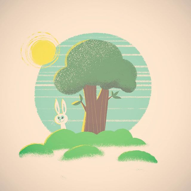 Been reading a lot of Golden Books to my boy lately...inspired me to get the sponge brush out! #spring #bunnies #illustration #goldenbook #trees #drawing #art #cartoon