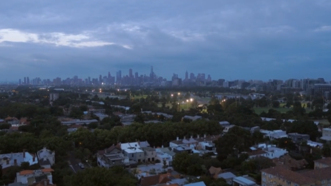 Towards Melbourne town - the green patch with the lights is Albert Park Lake and surrounds