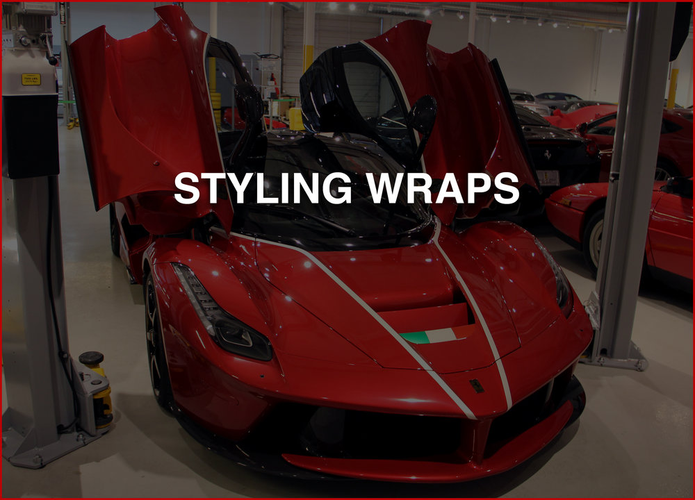STYLING WRAPS   All your car may need are rally stripes, pin stripes or a simple flag or design.  Need a simple touch?  Get at us now!