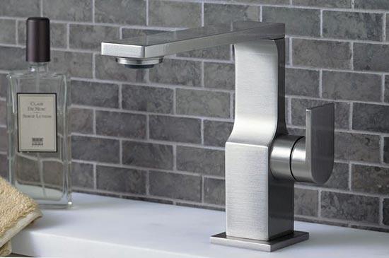 Satin nickel single-hole lavatory faucet