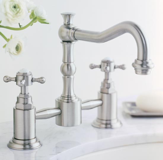 Satin nickel pillar style lavatory faucet