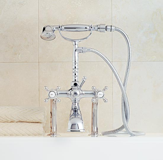Polished chrome deckmount telephone handshower set