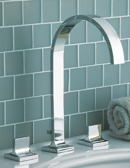 Polished chrome wall vessel lavatory faucet