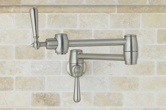 Satin nickel wallmounted pot filler