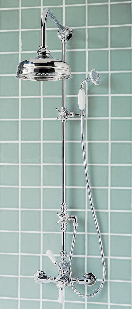 Polished chrome exposed thermostatic system