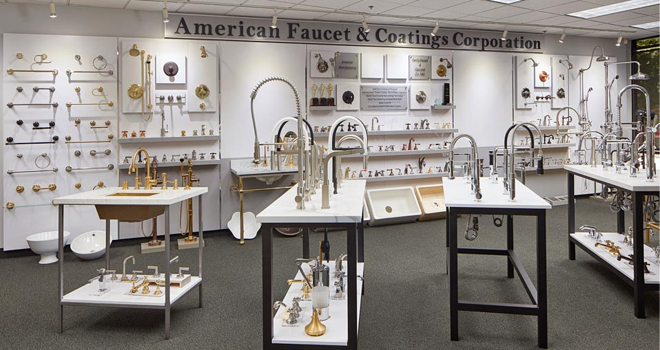 Visit our showroom to witness our extensive product line of very fine kitchen and bathroom faucets.