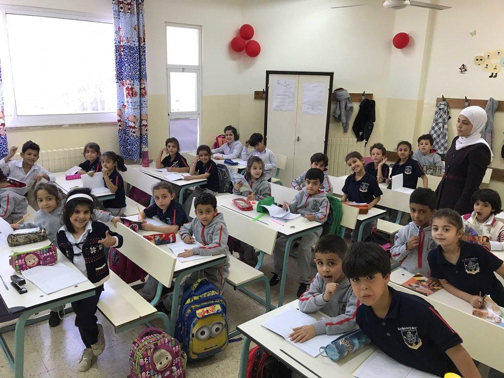 Skoleklasse i en skole i Jordan, støttet af Det Latinske Patriarkat.