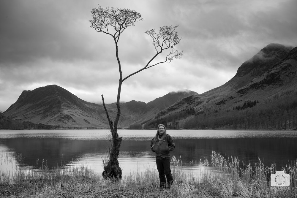 "Me posing with ""the tree"" at Buttermere"