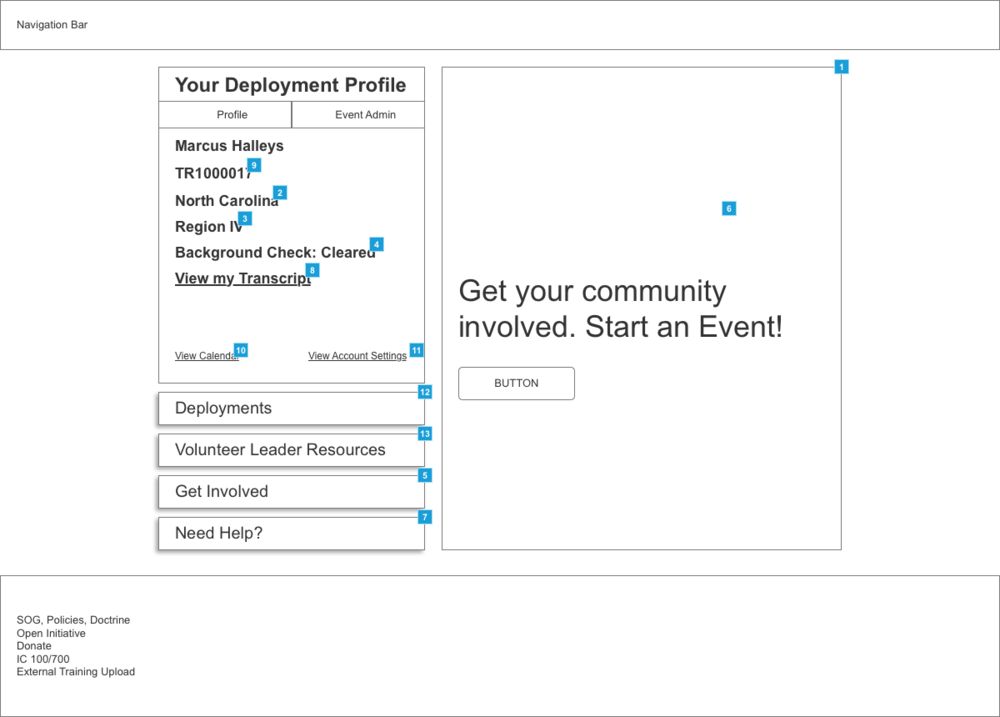 Volunteer Leader Home Page Wireframe