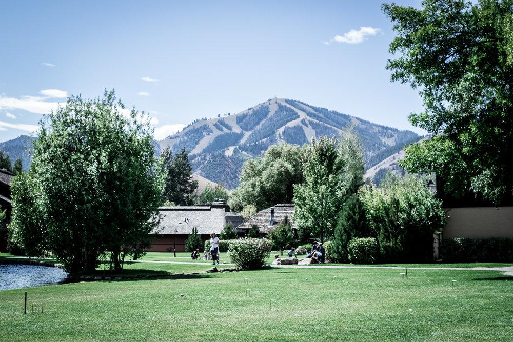Sun Valley Resort Grounds overlooking Sun Valley Ski Resort on Bald Mountain