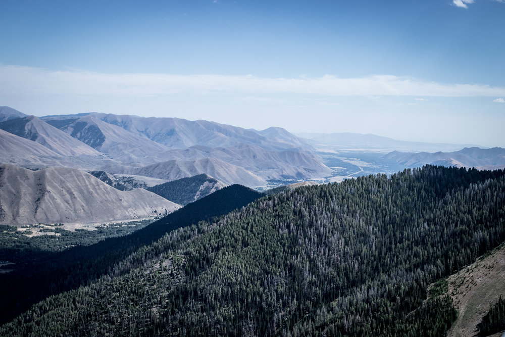 View of the Wood River Valley from the top of Bald Mountain / Sun Valley Ski Resort
