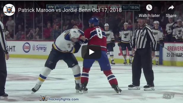 Patrick Maroon vs Jordie Benn